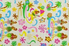 CAC0141 100% Cotton Fabric: All-Over Hawaiian Print Fabric