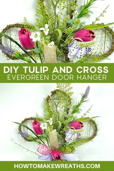 Kits are so much fun, we love putting them together. And it takes the pressure of choosing supplies off of you. When the supplies are all there in front of you, all that's left to do is put them together into a beautiful arrangement. This tulip and cross evergreen door hanger kit is a simple as it is beautiful. That makes it a double win! Check out our post on how to assemble this everyday door hanger. Make Your Own Wreath, How To Make Wreaths, Front Door Decor, Wreaths For Front Door, Pretty Room, Door Hangers, Seasonal Decor, Evergreen, Simple Designs