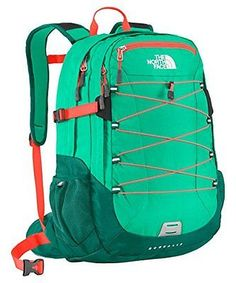 NEW The North Face Womens Womens Borealis Billiard Green/Fiery Coral Backpack