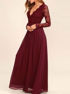 A-line Burgundy Chiffon Long Sleeves Lace Bridesmaid Dresses APD1984