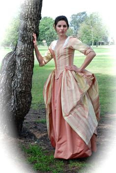 Marie Antoinette Gown 18th century colonial rococo polonaise dress in REAL silk 1770 - 1780 Made to order