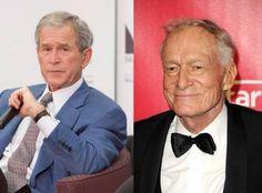Hugh Hefner y George W. Presidente Obama, Playboy, Hugh Hefner, Cousins, Abraham Lincoln, Movie Tv, Presidents, Movies, Celebs