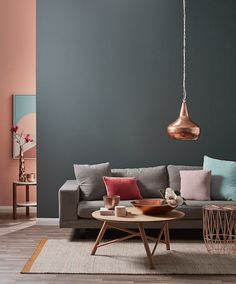 Grey, coral and copper living. © Temple & Webster