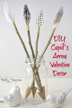 Add a subtle Valentine's Day themed touch to your decor with this DIY Cupid's Arrow Valentine Decor Craft starting with twigs. via day decor elegant center pieces DIY Cupid's Arrow Valentine Decor Craft Easter Crafts For Kids, Baby Crafts, Craft Stick Crafts, Decor Crafts, Craft Ideas, Kids Diy, Craft Projects, Valentines Day Decorations, Valentine Day Crafts