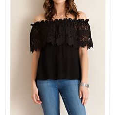 Black Off shoulder flower crochet top Add a touch of romance to your springtime wardrobe with a shoulder-baring top styled with an off-the-shoulder neckline and an overlay of flower shape crochet pattern. Non-sheer, unlined, woven, lightweight. Material: 100% rayon. Available in small, medium and large. Comment your size and I can make you a listing. ❗️NO TRADES❗️ Pink Peplum Boutique Tops