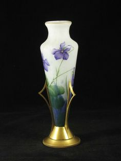 Daum Amphora vase in gilt bronze stand, French, 1895