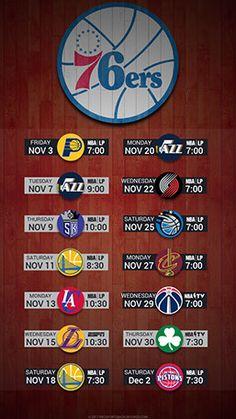 Philadelphia 76ers 2017 Mobile Schedule Wallpaper