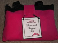 Bridesmaid/MOH Survival Kits-This Survival Kit was made just to say,I'm thrilled you're beside me on my wedding day!There's chocolate to give you that sugar high,And a packet of tissues in case you should cry.Lip gloss to help you care for your smile,If a nail should break, I've included a file.There is Shout if you should spill on your dress,And mouthwash to keep your breath minty fresh.There's Tylenol and Tums if it's ill that you feel,And Band-aids to help you tackle high heels.I've put e...