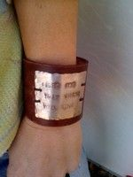 Leather bracelet with hand stamped metal, love it!