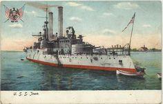 U.S.S. IOWA - BATTLESHIP BB-4 - SPANISH AMERICAN WAR - ILLUSTRATED PC - C-1900