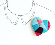 Patchwork Heart Brooch Heart Felt Pin Geometric by myhideaway, $25.00