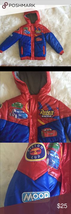 Disney's Cars Coat Cars jacket for kids. My son only wore this awesome jacket twice. Because we are from Florida, he hardly had the opportunity. He loves it even still. It has been hard for him to let go. His size now is a 10/12 and he can still fit it except for the sleeves. Please not that his name is on the tag of the jacket just in case he misplaced it at school. The coat has button and zipper closures. I guarantee you will love it! Disney Jackets & Coats