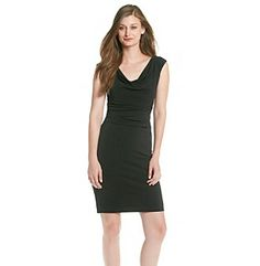 Dresses. Clean and chic, this little black dress from Vince Camuto features an elegant draped neck along with side ruching to aid in a fabulous fit. Featured in black Sleeveless Drapeneck Ruching at right side Lined Hits above the knee Hidden side zipper Polyester Imported