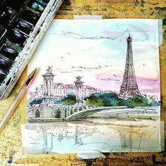 Уж не знаю как,но у меня тут Париж нарисовался😂📋✒ #paris #france #aquarela #aquarelle #sketchbook #sketch #urbansketch #street #streetsketch #watercolor #drawing #drawingart #art #toureiffel #seine