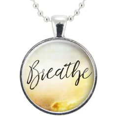 Breathe Necklace, Inspirational Quote Yoga Jewelry, Mindfulness... (3.855 HUF) ❤ liked on Polyvore featuring jewelry, necklaces, ball jewelry, pendant jewelry, ball necklace, silver plated necklace and ball pendant