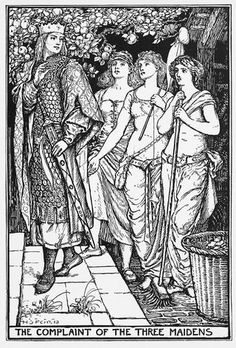 (The Complaint of the Three Maidens illustrated by HJ Ford  for The Crimson Fairy Book by Andrew Lang)