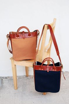 Handmade Brown Leather And Canvas Shoulder Bag/ Tote Bag