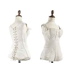 A LADY'S WHITE COTTON SATEEN CORSET  FRENCH, 1815-20  with cord-work to the front and sides in diagonal rows and lattices, a busk down the centre front, laced at the back