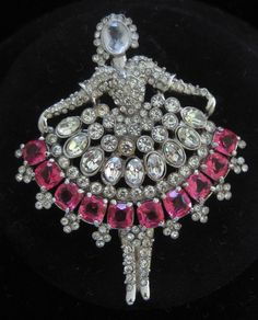 WEINBERG Pink & Clear Rhinestone Ballerina Pin from vintagejewelrytoo on Ruby Lane