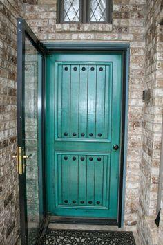Distressed turquoise front door    http://www.facebook.com/JacobReinboldGeneralContracting