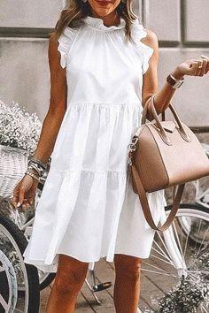 Jennerlady Flounce Ruffle White Knee Length Colors) - Casual Dresses - Ideas of Casual Dresses Cute Casual Dresses, Casual Dress Outfits, Cute Outfits, White Dress Outfit, Boho Outfits, Stylish Outfits, White Casual, White White, Look Fashion