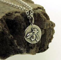 Little Bee Necklace  in sterling silver by by KathrynRiechert