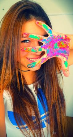 One of my favorite photos ever. hands, paint, color, girl, summer, photography #Kimbersndad