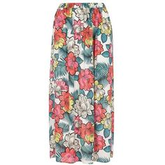 Ivory Floral Maxi Skirt ($60) ❤ liked on Polyvore featuring skirts, floral maxi skirt, long ivory skirt, flower print maxi skirt, long skirts and winter white skirt