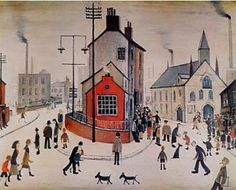 A Street in Clitheroe by L S Lowry. Massive range of art prints, posters & canvases. Quality UK framing & Money Back Guarantee! Salford, St Just, English Artists, Chef D Oeuvre, Paul Gauguin, Naive Art, Urban Landscape, Beautiful Paintings, Rose Paintings