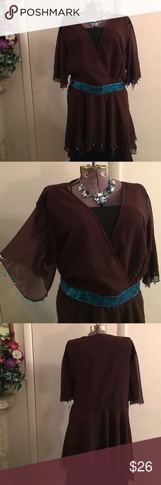 REDUCED  New Brown/Teal Sheer Jewel Tunic Top New brown/teal tunic top, sheer lined, jewel decorative beads, sequin band, crossover front, side hidden zipper, high/low hem line Ashro Tops Tunics