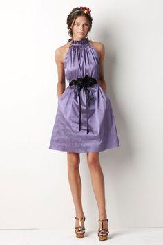 High neck taffeta bridesmaid dress with dropped waist
