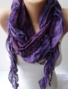 Purple Chiffon and Laced Fabric Scarf - with Pompom. $16.90, via Etsy.
