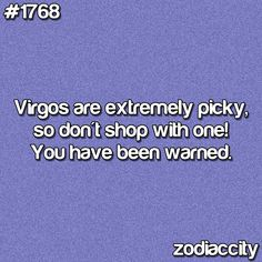 can you imagine shopping with me and my daughter-in-law? we are both Virgos!