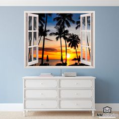 Wall mural Night on the beach. Decorative vinyl that simulates a window open to a beautiful landscape of a night on the beach. Wall Stickers, Wall Decals, Window Wall, Strand, Windows, Watercolor, Decoration, Mini, Pictures