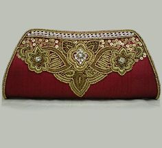 Maroon Embroidered Clutch Bag