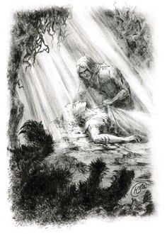 'They buried the body of Felagund upon the hill-top of his own isle, and it was clean again; and the green grave of Finrod Finarfin's son, fairest of all the princes of the Elves, remained inviolate, until the land was changed and broken, and foundered under destroying seas. But Finrod walks with Finarfin his father beneath the trees in Eldamar.' - Of Beren and Lúthien, The Silmarillion.  Death of Felagund, by lyazgina