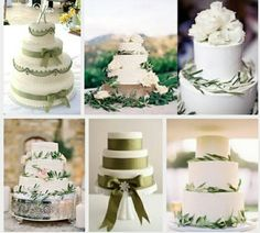 Olive green and white wedding cake inspiration. Decorated with nature. Olive theme wedding cake.