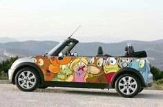 Illustrated Mini Cooper,  enhanced by Sydney artist and illustrator Andrew Georgiou.