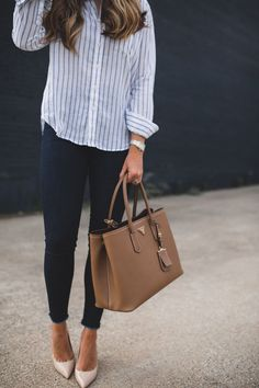 Striped Button Down & Frayed Denim | The Teacher Diva: a Dallas Fashion Blog featuring Beauty & Lifestyle