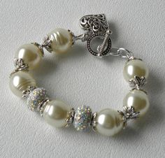 Snowdrift Pearl Pave Crystal Rondell by bdzzledbeadedjewelry, $35.00