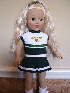 Cute doll outfit spotted on Etsy! // 18 Inch Doll Clothes - #Baylor Cheerleader