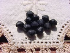 Black Velvet Petite Bicones Vintage Glass Beads by vintagebeadnut, $3.50