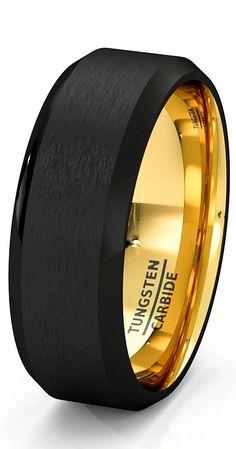 Mens Wedding Band Black Gold Tungsten Ring Brushed Surface Center Beveled Edge 8...