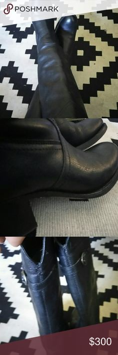 """Selling this Frye's black """"Jane Tall Cuff"""" leather Riding Boots on Poshmark! My username is: evilhenry. #shopmycloset #poshmark #fashion #shopping #style #forsale #Frye #Shoes"""