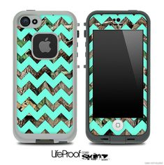 Camo & Trendy Green Chevron V3 Print Skin for the iPhone 4/4s or 5 LifeProof Case on Etsy, $9.99