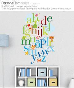 CUTE IDEA FOR A PLAYROOM - Childrens Alphabet Wall Decal - Large Vinyl Art Sticker - $68.00, via Etsy.