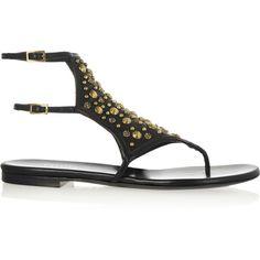 Tamara Mellon Embellished leather sandals ($348) ❤ liked on Polyvore