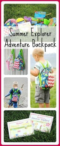 Summer explorers adventure backpack!! A fun idea for a end if school suprise gift for your kids or grandkids. Free printable for a field guide.