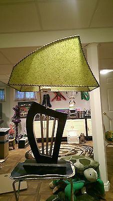 Vintage 1950's Majestic Lamp, Atomic Fiber Shade, Harp Design