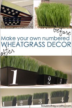 Wheatgrass & vinyl numbers - House of Hepworths - DIY Wheatgrass numbered containers made from thrift store items. Diy Craft Projects, Diy And Crafts, Craft Ideas, Handmade Home Decor, Diy Home Decor, Diy Gift Box, Wheat Grass, Rustic Farmhouse Decor, House Numbers